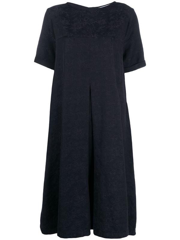 YMC floral-jacquard empire line dress in blue