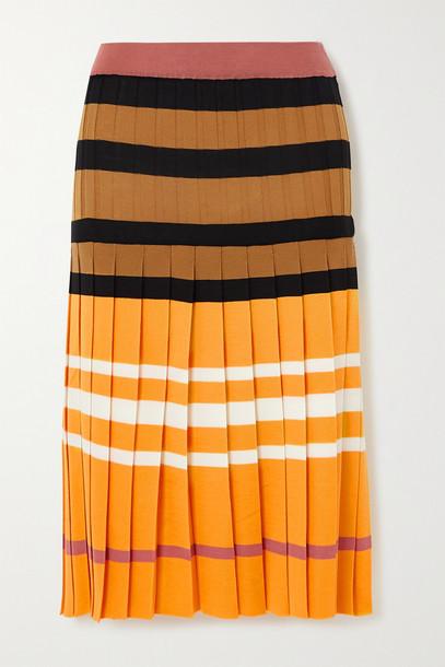 MARNI - Pleated Striped Wool Skirt - Yellow