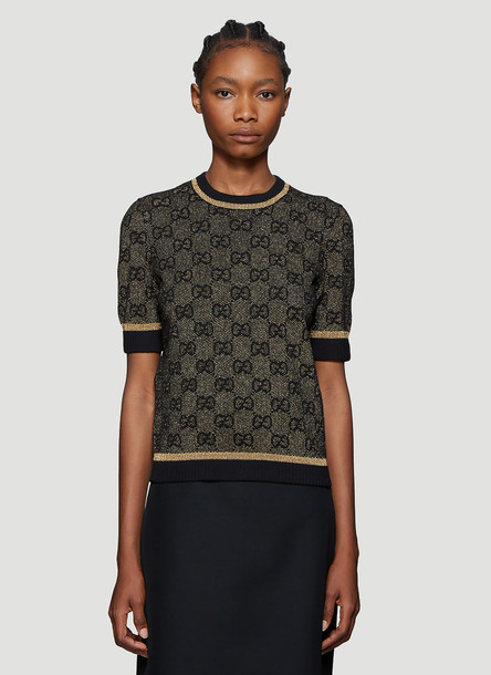 Gucci GG Logo Metallic-Knit Top in Black size S