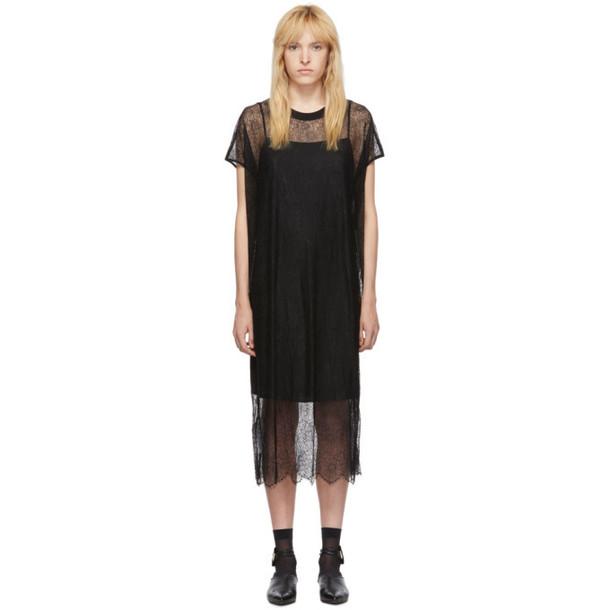 McQ Alexander McQueen Black Lace Short Sleeve Dress