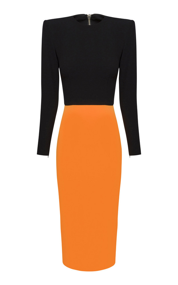 Alex Perry Darley Two-Tone Structured Crepe Midi Dress in orange