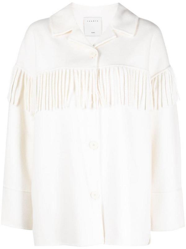 Sandro Paris Brandon fringed-yoke coat in white