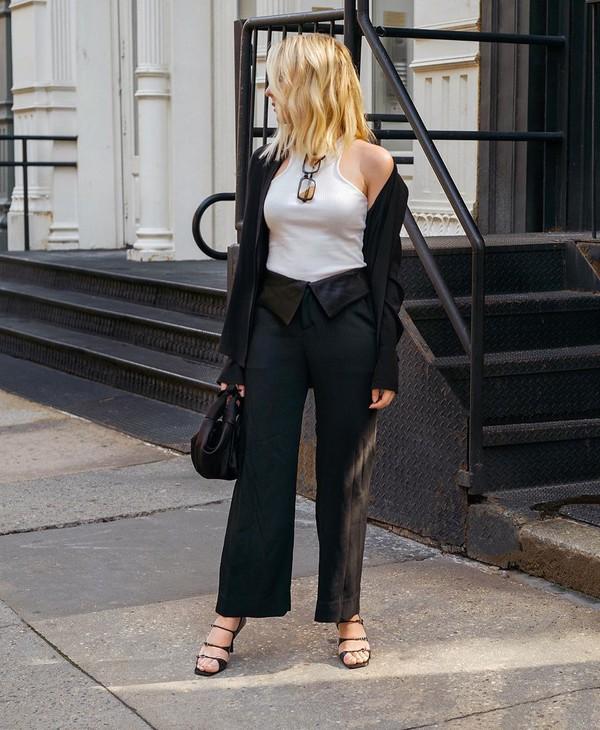 top white top black pants wide-leg pants black blazer black sandals black bag