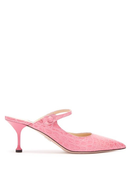 Prada - Mary Jane Crocodile Effect Leather Mules - Womens - Pink