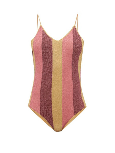 Oseree - Lumière Striped Metallic Swimsuit - Womens - Multi