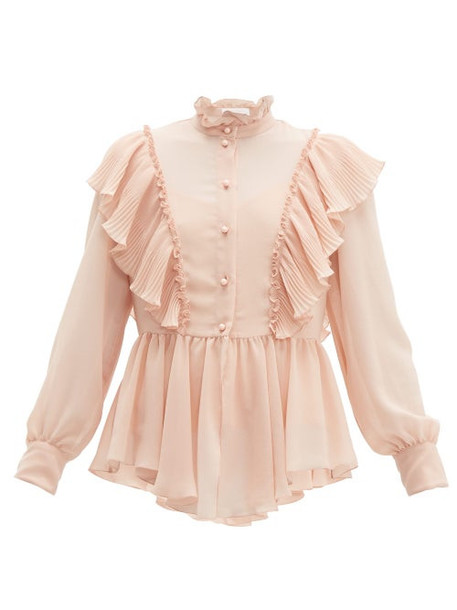 See By Chloé See By Chloé - Ruffled Georgette Blouse - Womens - Light Pink