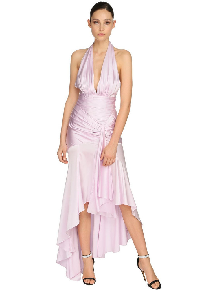 ALEXANDRE VAUTHIER Draped Stretch Satin Long Dress in pink