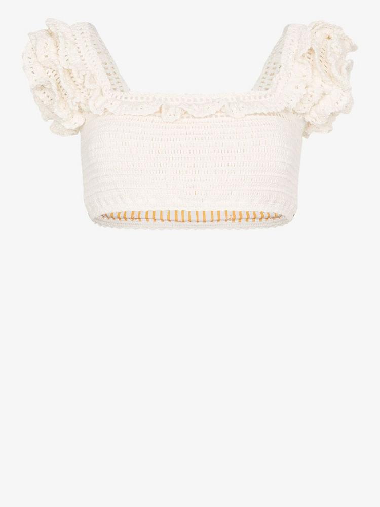 She Made Me Saachi crochet frill bikini top in neutrals