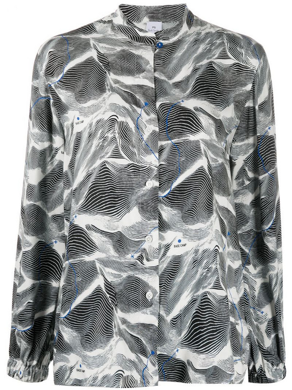 PS Paul Smith graphic printed collarless blouse in black