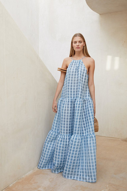 Cult Gaia Linda Dress - Bluebell Check (PREORDER)                                                                                               $658.00 USD
