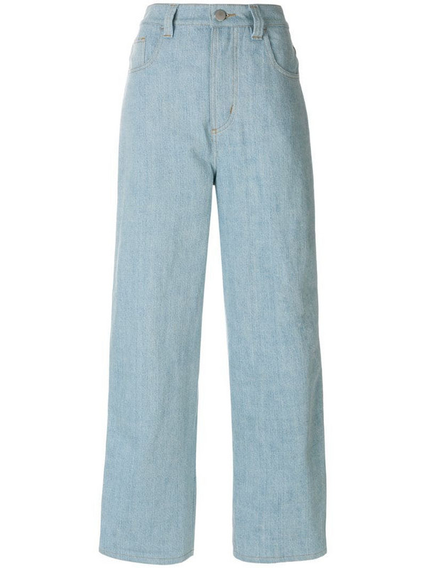 Koché stripe detail wide leg jeans in blue