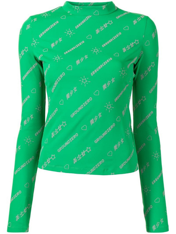 Ground Zero all-over logo print top in green
