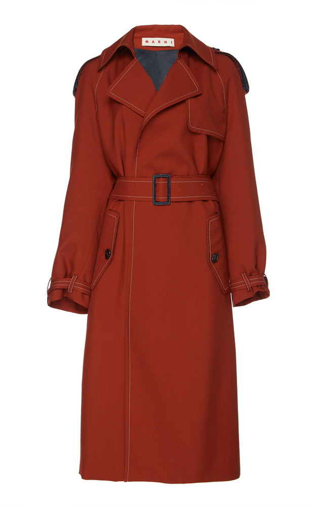 Marni Belted Trench Size: 38 in burgundy