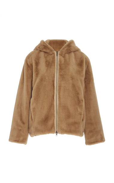 Vince Hooded Faux-Shearling Jacket Size: XS in neutral