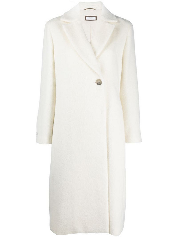 Peserico single-breasted wool coat in white
