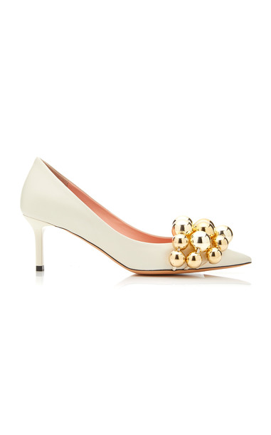 Rochas Bauble-Embellished Leather Pumps Size: 35 in white