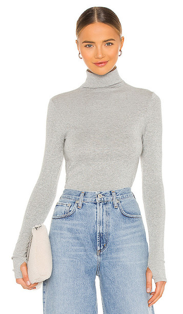 Enza Costa Lurex Rib Long Sleeve Fitted Turtleneck in Grey in silver