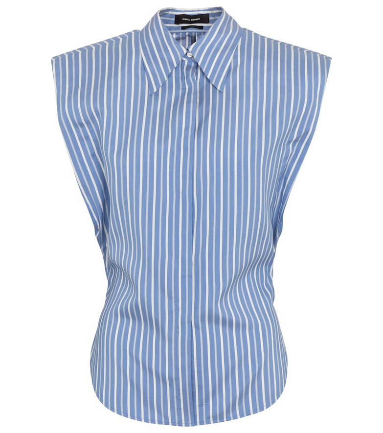 Isabel Marant Enza pinstriped silk shirt in blue