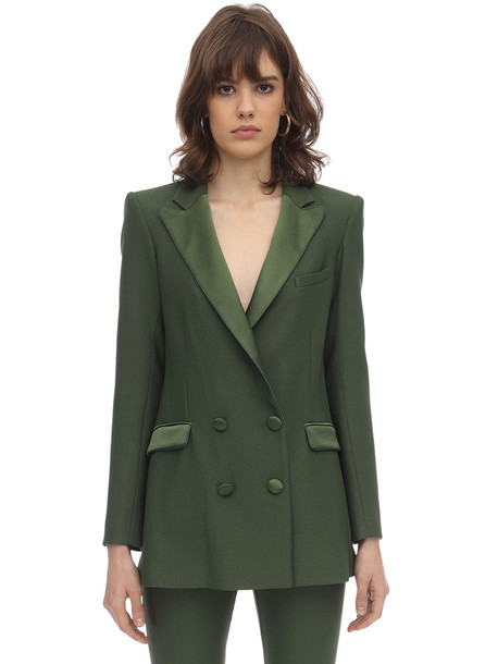 HEBE STUDIO Bianca Viscose Blend Cady & Satin Blazer in green