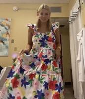 dress,bright floral midi