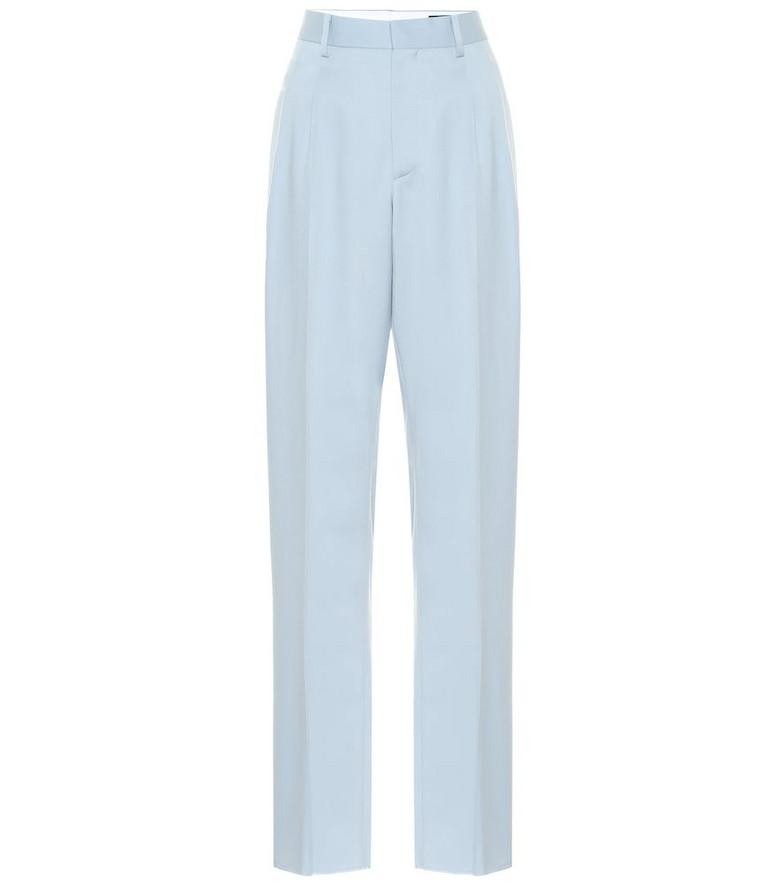 Stella McCartney Julien high-rise wool straight pants in blue