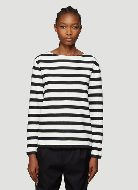 Saint Laurent Striped Sweatshirt in White size L