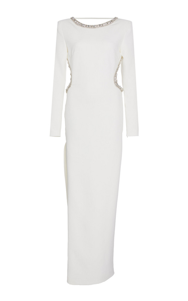 Alessandra Rich Embellished Backless Crepe Gown in white