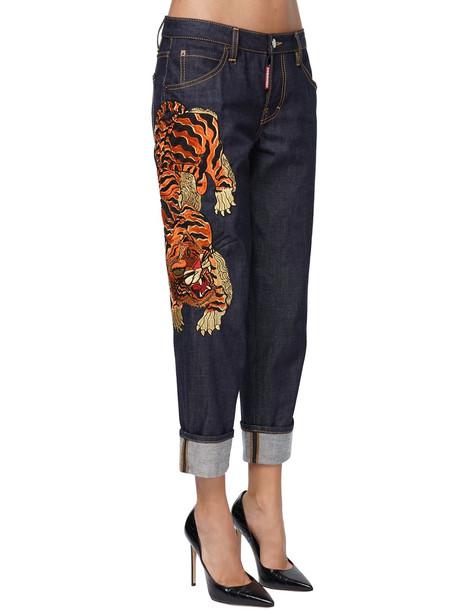 DSQUARED2 Hockney Denim Jeans W/tiger Patch