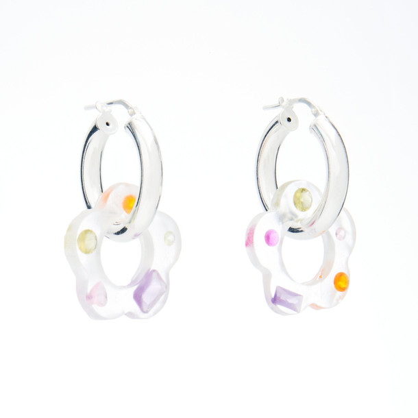 Pina Jewels Jeweled Daisy Charm Hoop Earrings in multi