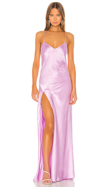Michelle Mason Bias Gown With Slit in Pink