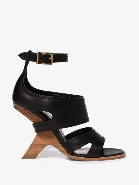 Alexander McQueen black no.13 105 wedge leather sandals