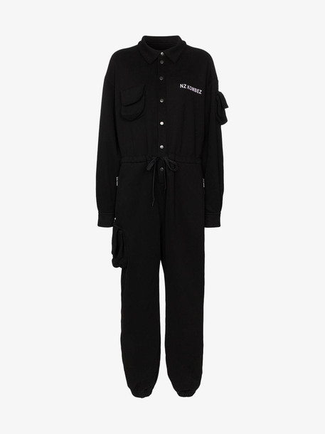 Natasha Zinko pouch-pocket jersey jumpsuit in black