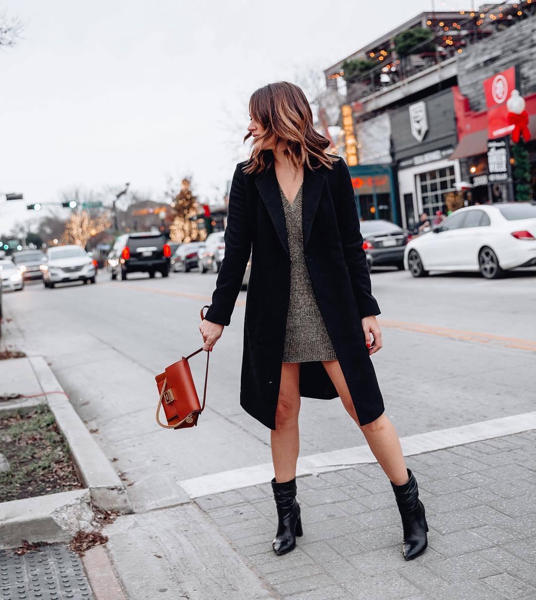 bag givenchy bag black bag heel boots v neck dress mini dress black coat long coat