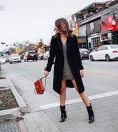 bag,givenchy bag,black bag,heel boots,v neck dress,mini dress,black coat,long coat