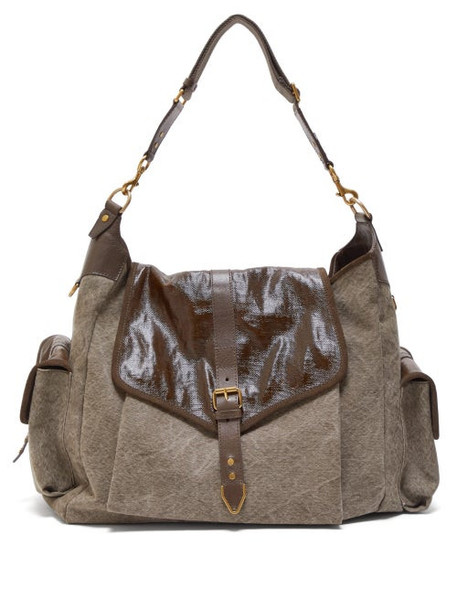 Isabel Marant - Mawee Leather And Linen Shoulder Bag - Womens - Khaki