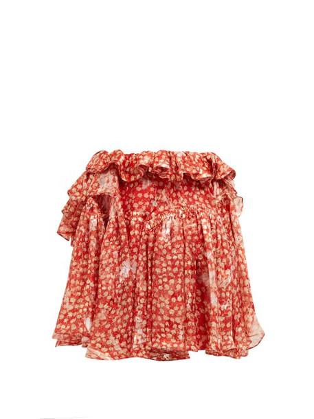 Preen By Thornton Bregazzi - Dolores Ruffled Silk Blend Mini Skirt - Womens - Red