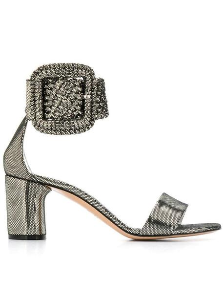 Casadei metallic buckle sandals in silver