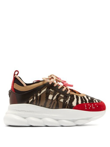 Versace - Chain Reaction Animal Pattern Trainers - Womens - Black Red