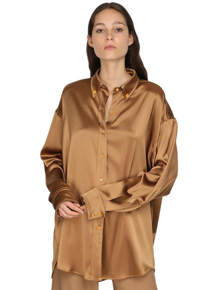 SIES MARJAN Oversized Satin Shirt in brown