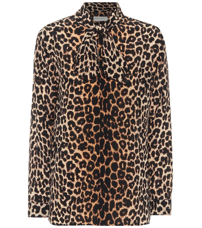 Saint Laurent Leopard-print silk blouse in brown