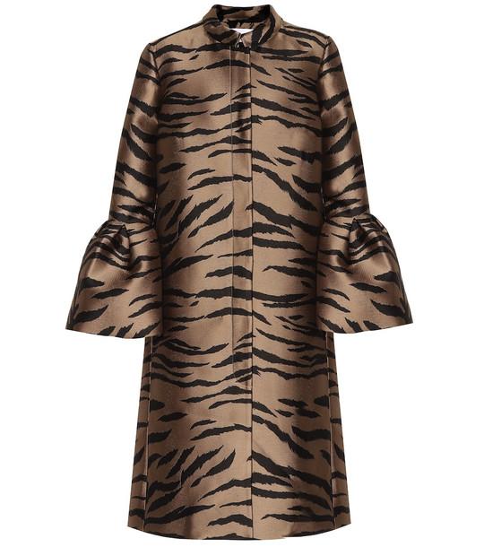 Carolina Herrera Jacquard coat in brown
