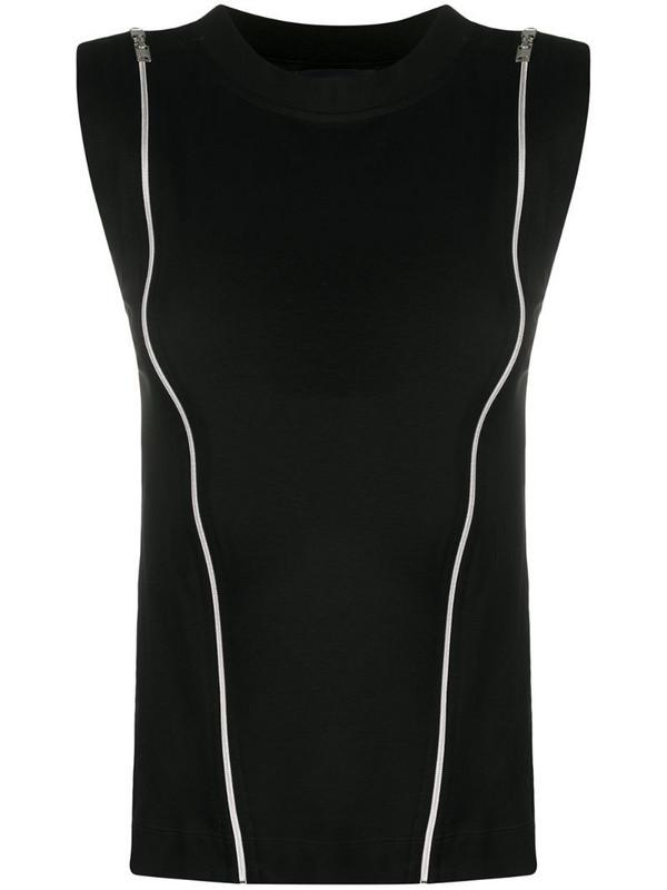 Diesel Cotton top with zip openings in black