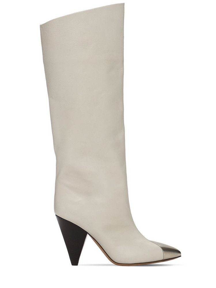 ISABEL MARANT 90mm Lilezio Leather Tall Boots in white