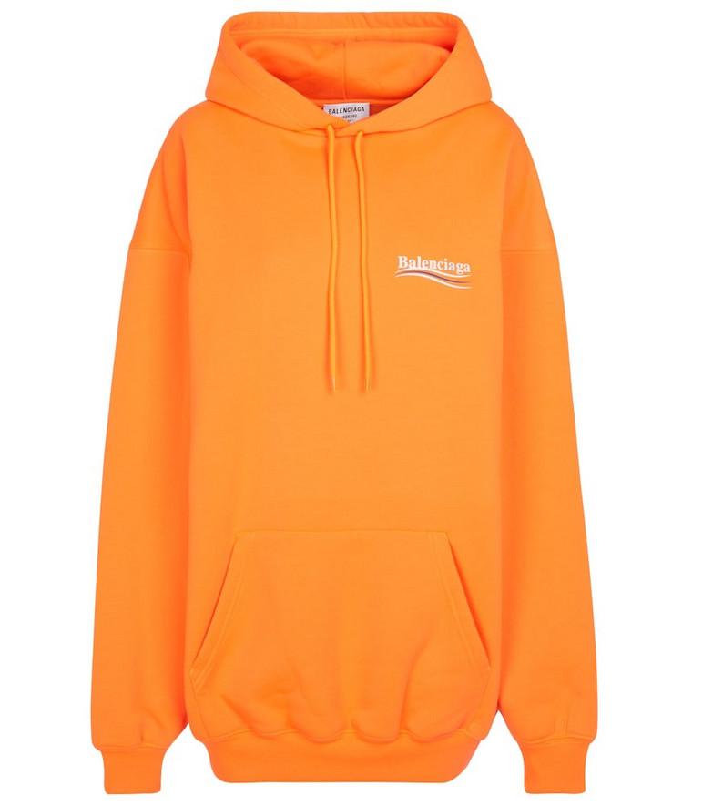 Balenciaga Logo cotton-blend hoodie in orange