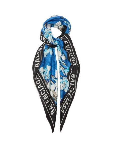Balenciaga - Floral And Logo-print Silk Scarf - Womens - Blue Print