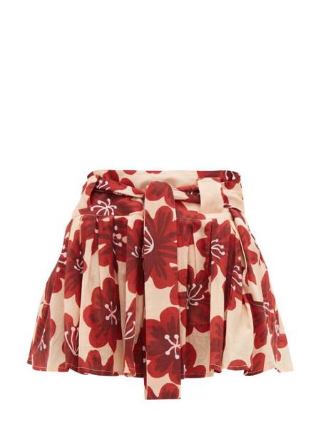 Dodo Bar Or - Milli Floral Print Cotton Poplin Mini Skirt - Womens - Cream Print