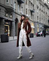 jumpsuit,white jumpsuit,mango,white boots,heel boots,teddy bear coat,white bag,shoulder bag