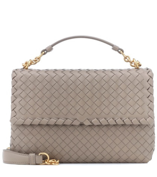 Bottega Veneta Olimpia leather shoulder bag in grey