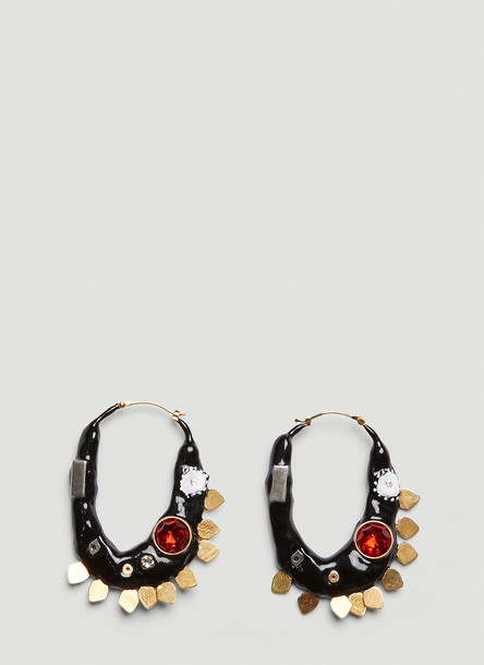 Marni Enamel Hoop Earrings in Black size One Size