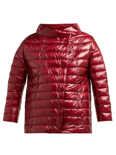 Herno - Quilted Down Filled Boat Neck Jacket - Womens - Burgundy